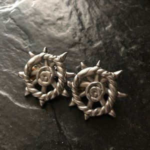Vintage Silver Ton Knot Clip On Earrings